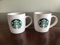 Pair Of 12 Oz Starbucks Mugs W/ Logo White Marbled Texture 2020 Coffee Tea