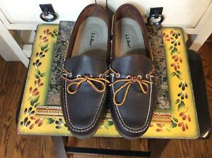 LL Bean 130448 Handsewn Moccasins Camp Moc Boat Shoes Loafers Dark Brown 9.5EE