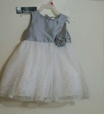 George Infant & Toddler Girls White Formal Holiday Dress & Gray Shrug Outfit 5T