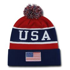 USA Flag US American Patriotic Winter Team Olympics Games Pom Beanie Beanies