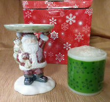 Avon Festive Holiday Candle Holder With Candle - Santa - Nib 2002