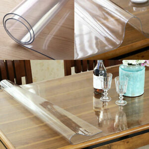 PVC Wipe Clean Transparent Tablecloth Table Protection Cover Glass Waterproof