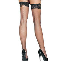 Black Thigh High Fishnet Lace Top Back Seamed Stockings One Size S M 8 - 12