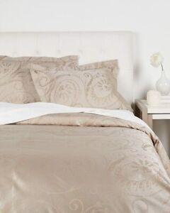 Sferra Ambra EURO Sham Sable Egyptian Cotton & Silk Sateen Jacquard New