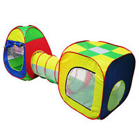 Cubby-Tube-Teepee 3pc Pop-up Play Tent Children Tunnel Kids Adventure House V3E5