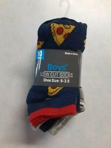Boys 10 Pack Low Cut Socks Shoe Size 9-3.5 Multicolor (SockBox6)