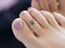 Pinky Toe Ring Star Style Toe Ring 14K White Gold Over Black Diamond Midi &