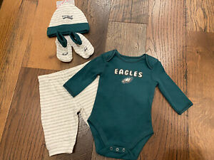 Philadelphia Eagles NLF Baby Boys 4-Pc Bodysuit, Pant, Cap & Booties Set - 3 Mo.