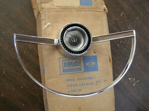 NOS OEM Ford 1965 Galaxie 500 LTD Steering Wheel Horn Ring XL Emblem Ornament