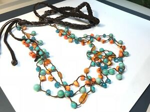 Spiney Oyster, Carnelian, Turquoise, Topaz Bead Tassel & Leather & Bead Necklace