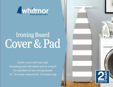 Whitmor Ironing Board Cover with Pad Paloma Gray Stripe 100% Cotton 3mm Foam