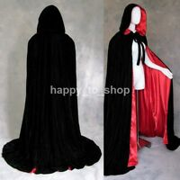 Black Red Halloween Costume Wicca Robe Medieval Cape Gothic Hooded Velvet Cloak