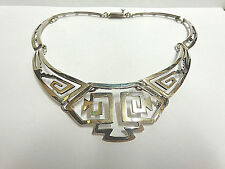 vintage sterling necklace taxco mexico 20 in lg wgt 52.9 grams