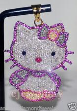 Hello Kitty 7.34ct Individual Corte Diamante Gema 925 Plata Aniversario Colgante
