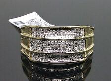 10K Men's Yellow Gold 7 Rows Diamond Paved Ring 0.23CT /Band