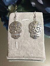 Sugar Skull  Fashion Dangle Earrings Sterling Ear Wires FREE SHIPPING ON $35+