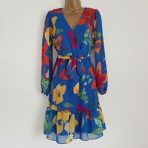 NEW Dorothy Perkins 8-22 Wrap Front Blue Green Red Belted Floral Chiffon Dress
