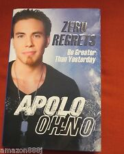 SIGNED IN PERSON  APOLO OHNO ZERO REGRETS Book OLYMPIC MEDALIST