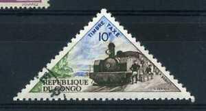 REP. CONGO, timbre taxe 42, locomotive, train, oblitéré