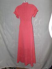 Ladies Size S / M 34 Vintage Miss JoAnn California Long Coral Knit Maxi Dress