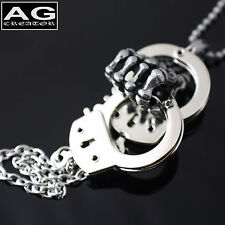 """Skeleton hand holding handcuff S pendant with 26"""" ball chain necklace US SELLER"""