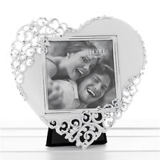 Heart shaped Photo Frame Wedding White & Silver Gift NEW 16919