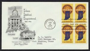 #1308 5c Indiana Statehood-Block of 4, Artmaster FDC ANY 5=