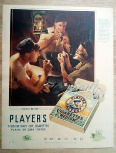 Vintage Player's Navy Cut Cigarettes advert from 1937 - attractive art