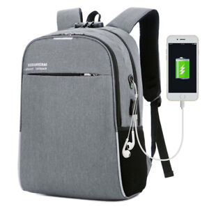 "16""Laptop Men's Backpack Travel Anti-Theft USB Charging Shoulder Bag Outdoor"