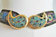 Yves Saint Laurent Vintage 70's Bejewelled Filigree Gold Tone Buckle Belt XS Uk8