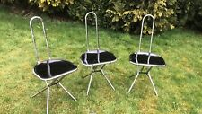 3 Ikea Chrome and Black Folding Chairs