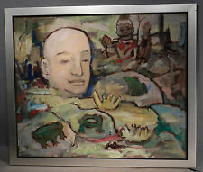 Vintage Modern Abstract Painting Frog Lily Pond Big Head Jacques Colbert Surreal