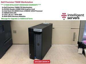 Dell T3600 Workstation, E5-2690 2.9GHz, 32GB, 500GB SSD, 1TB HDD, Quadro K4000