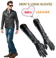 60cm(23.5 inch) MEN's Black 100% leather Long Gloves