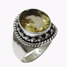 Handmade Citrine Solid Sterling Silver Ring Genuine Jewelry - Size N