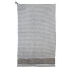 Beis Blanco VICHY estrellas encaje 100% Algodón Cocina Paño cocina 50cm x 85cm