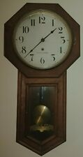 Antique Seth Thomas Long Drop Regulator Wall Clock with Key Working