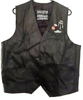 Mens Extreme Biker Motorcycle Vest 2XL 50 Black Harley Davidson Patch Pins USA