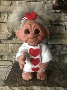 "Dam Troll Doll! 9"" Salt&Pepper Fur Hair! 1977 Denmark! Valentines Day! Posable!"