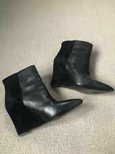 All Saints Black Leather And Suede Pull On Wedge Ankle Boots 6 39
