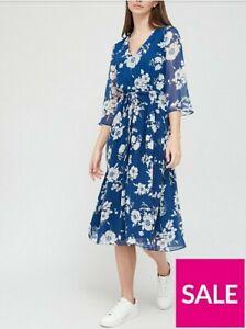 V by Very Drawstring Midi Dress  - Blue Floral Size 16