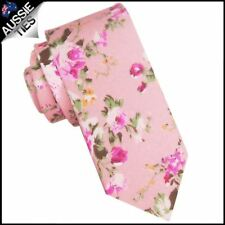 Pink with Floral Pattern Men's Skinny Tie