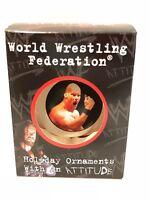 1998 WWF WWE Wrestling Stone Cold Steve Austin Christmas Tree Ornament Box NOS
