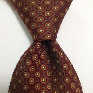 HUGO BOSS Men's 100% Silk Necktie ITALY Designer Geometric Burgundy/Brown EUC