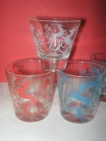 ART DECO IMPALA AFRICAN DEER SMALL FEDERAL DRINKING GLASS 1950's LOT 10 original