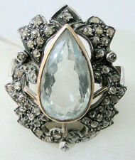 Victorian Look 925 Silver Cocktail Ring 3.10cts Rose Cut Diamond Blue Topaz
