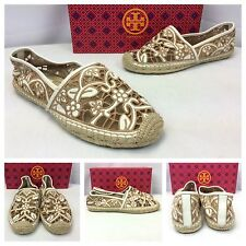Tory Burch Lucia Lace Espadrille Tan White Ballet Flats Loafers Shoes Sz 10 $185