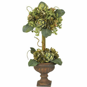Nearly Natural Artichoke Topiary Silk Flower Arrangement Home Decoration 2 Feet