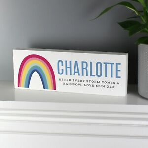 Personalised Rainbow Wooden Block Sign 10% Donated To The NHS