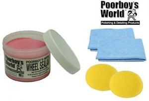 Poorboys Wheel Sealant Alloy Metal Rim Wax Polish Rimwax + 2 Free Cloths Pads